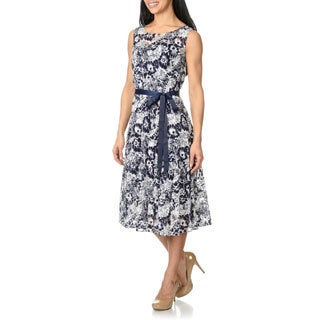 S.L. Fashions Womens Printed Lace Dress