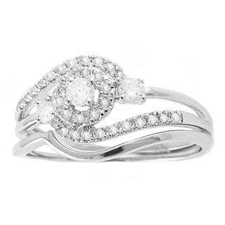Beverly Hills Charm 14k White Gold 1/3ct TDW Round Swirl Halo Diamond Bridal Set (H-I, SI1-SI2)