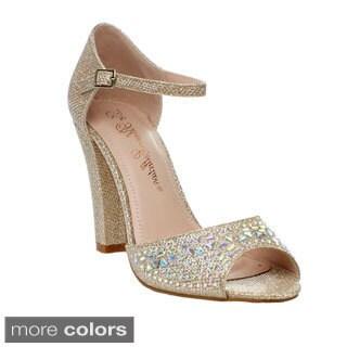Chunky Heel Gold Sandals ~ High Heel Sandals