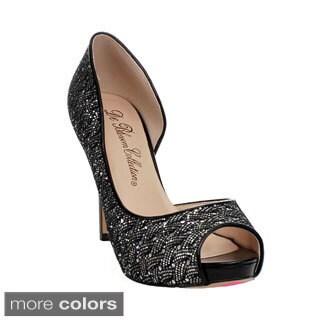 Blossom Women's 'Angle-9' Sparkle-woven Peep-toe Heels