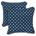 Navy Dots Corded Indoor/ Outdoor Square Pillows (Set of 2)