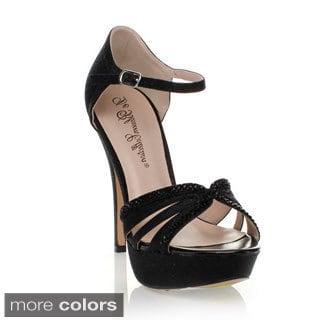 Blossom Women's 'Vice-106' Glitter-embellished Ankle Strap Pumps