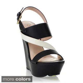 Blossom Women's 'Sam-18' Two-tone Wedge Sandals