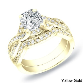 Auriya 14k Gold 1ct TDW Cushion Diamond Bridal Ring Set (H-I, SI1-SI2)