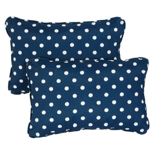Navy Dots Corded 13 x 20 inch Indoor/ Outdoor Throw Pillows (Set of 2)