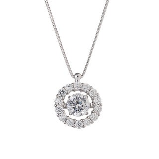 Auriya 'Dancing Stone' 14k White Gold 4/5ct TDW Diamond Necklace