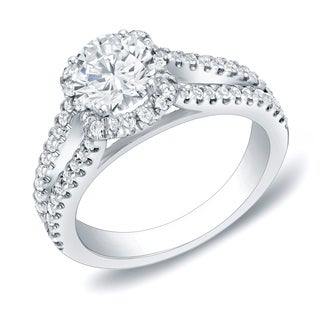 Auriya 14k Gold 1 1/4ct TDW Round Certified Diamond Engagement Ring (H-I, SI1-SI2)