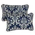 Deep Blue Damask Corded 13 x 20 inch Indoor/ Outdoor Throw Pillows (Set of 2)