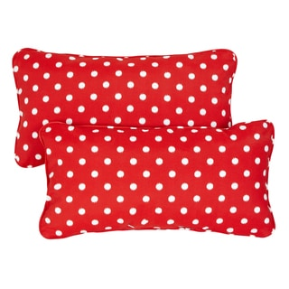 Red Dots Corded 12 x 24 Inch Indoor/ Outdoor Lumbar Pillows (Set of 2)