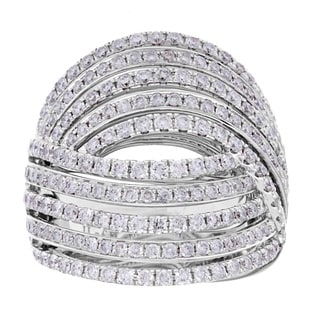18k White Gold 1 7/8ct TDW Pave Braided Multi-row Diamond Ring (G-H, SI2-I1)
