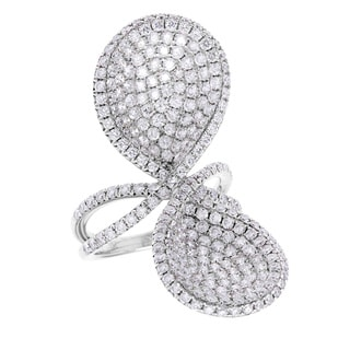 18k White Gold 4ct TDW Diamond Petal Design Ring (G-H, SI2-I1)