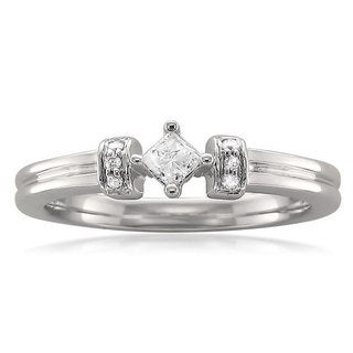 10k White Gold 1/8ct TDW Princess Diamond Ring (H-I, I2)
