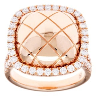 18k Rose Gold 1ct TDW Diamond Halo Fashion Ring (G-H, SI2-I1)
