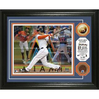 "Giancarlo Stanton ""Triple Play"" Game Used Dirt Coin Photo Mint"