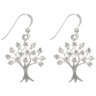 CGC Sterling Silver Cubic Zirconia Sparkling Tree of Life Dangle Earrings