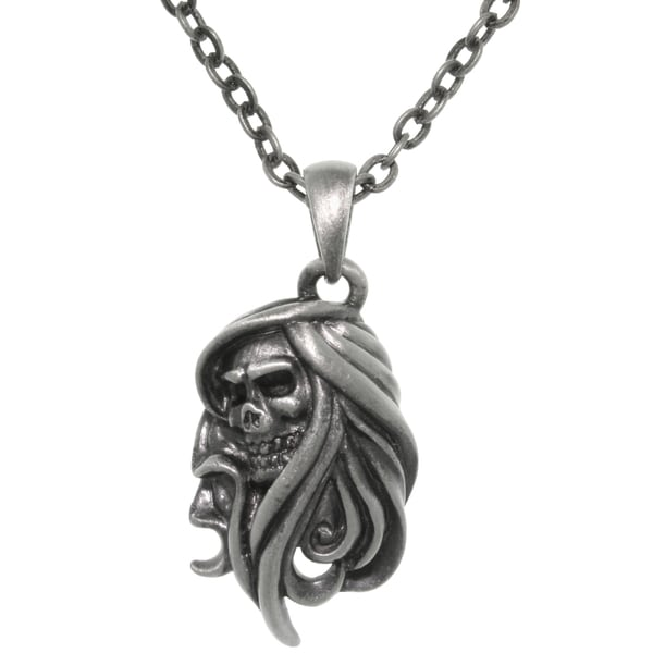 Pewter Grim Reaper Chain Necklace 12704393