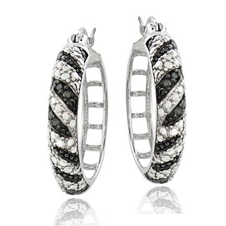 DB Designs Silvertone Black Diamond Accent Zebra Stripes Hoops Earrings