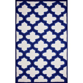 nuLOOM Hand-hooked Trellis Indoor/ Outdoor Blue Rug (5' x 8')