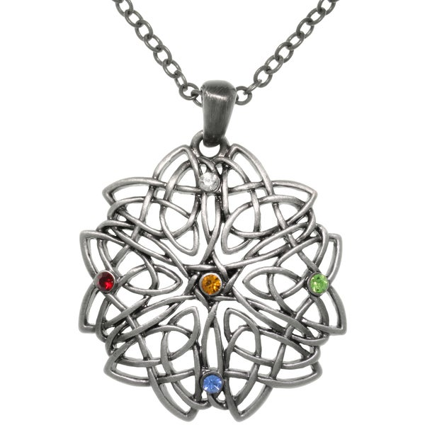 CGC Pewter Celtic Rising Star Knot Multi-colored Crystal Pendant Necklace