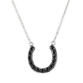 Beverly Hills Charm Sterling Silver 1/4ct TDW Black Diamond Horseshoe Necklace