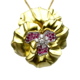 Sonia Bitton 18k Two-tone Gold Gemstone and 1/3ct TDW Diamond Flower Pin Pendant (G-H, SI1-SI2)