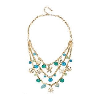 Alexa Starr Base Metal Multi-row Sea Life Charm Shell Necklace