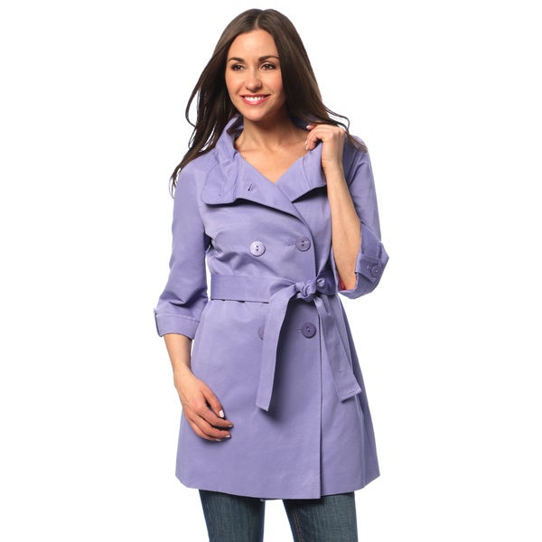 Tahari Women's Dried Lilac Double-breasted Rain Trench Coat