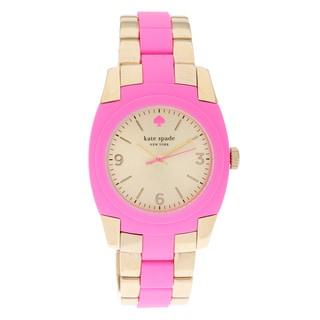 kate spade New York Women's 1YRU0163 'Skyline' Pink/ Goldtone Bracelet Watch