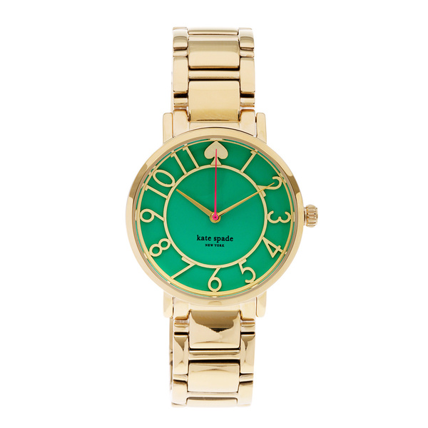 kate spade New York Women's 1YRU0390 'Gramercy' Green Dial Goldtone Bracelet Watch