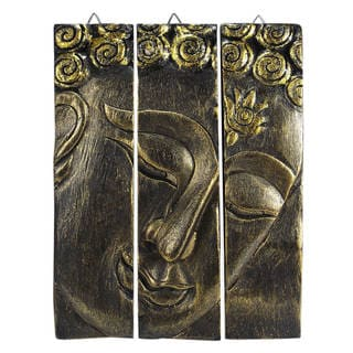 Golden Buddha Face Three Panel Hand Carved Wood Wall Art (Thailand)