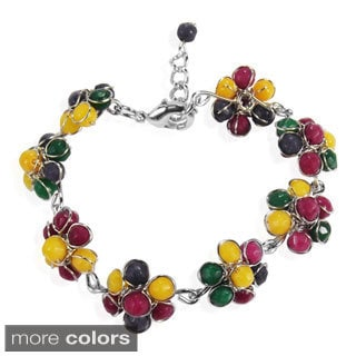 Sweet Tropical Daisy Faceted Stone Link Bracelet (Thailand)