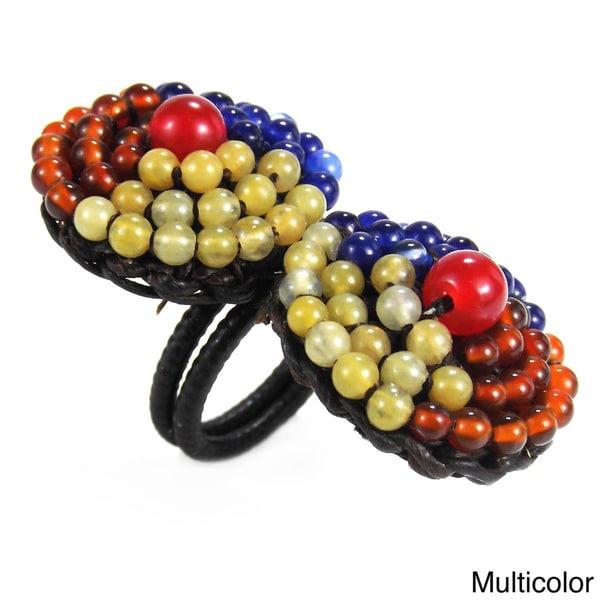 Tribal Circle Duo Brass Mix Natural Stones Adjustable Ring (Thailand)