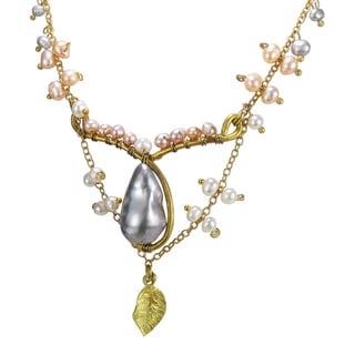 Vintage Inspired Brass Pearl Teardrop Goddess Necklace (Thailand)