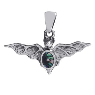 Vampire Bat Inlaid Rainbow Abalone Sterling Silver Pendant (Thailand)