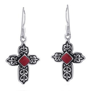 Victorian Cross Red Faith Coral .925 Silver Earrings (Thailand)