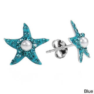 Cubic Zirconia Starfish Pearl .925 Silver Stud Earrings (Thailand)