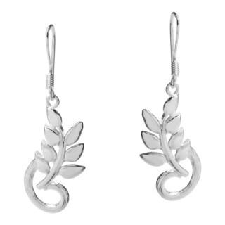 Morning Branch Leaf Sterling Silver Dangle Earrings (Thailand)