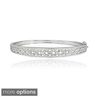DB Designs Sterling Silver 1/3ct TDW Diamond Flower Bangle Bracelet (I-J, I2-I3)