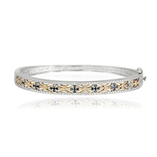 DB Designs Two-tone Sterling Silver 1/3ct TDW Blue Diamond Filigree Bangle (I2-I3)