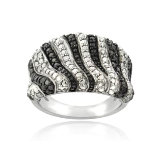 DB Designs Silvertone Black Diamond Accent Zebra Stripes Ring