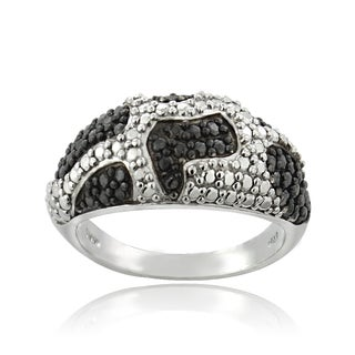 DB Designs Silvertone Black Diamond Accent Animal Print Ring