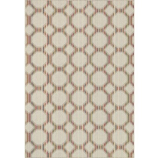 Indoor/ Outdoor Paradise Geometric Beige/ Multi Rug (3'11 x 5'10)