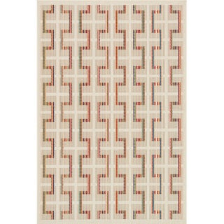 Indoor/ Outdoor Paradise Plaid Beige/ Multi Rug (3'11 x 5'10)