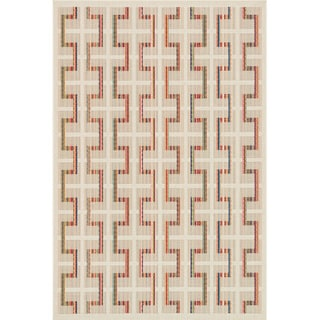 Indoor/ Outdoor Paradise Plaid Beige/ Multi Rug (7'10 x 10'9)
