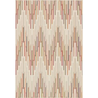 Indoor/ Outdoor Paradise Chevron Beige/ Multi Rug (5'2 x 7'5)