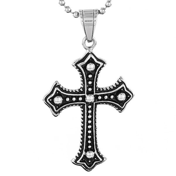 Stainless Steel Metallic Ball Layered Cross Pendant Necklace