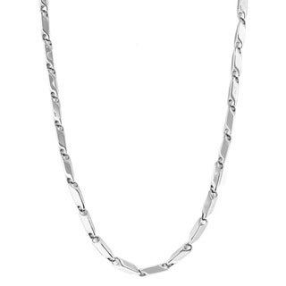 Stainless Steel Men's Small Prism-cut Link Necklace