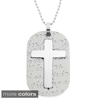 Stainless Steel Men's Cross and Prayer Dog Tag Pendant Necklace