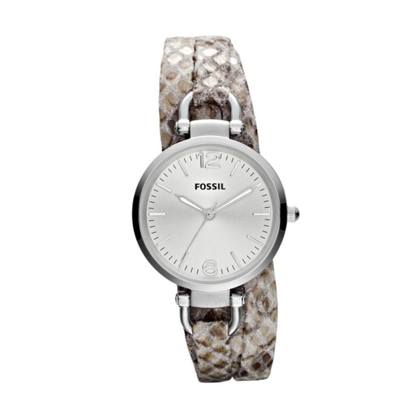 Fossil Women's Georgia Leather Snake Print Skinny Strap Watch
