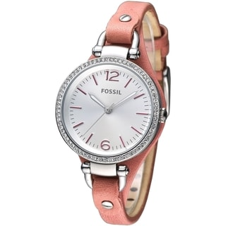 Fossil Women's Georgia Cyrstal Accented Orange Leather Skinny Strap Watch